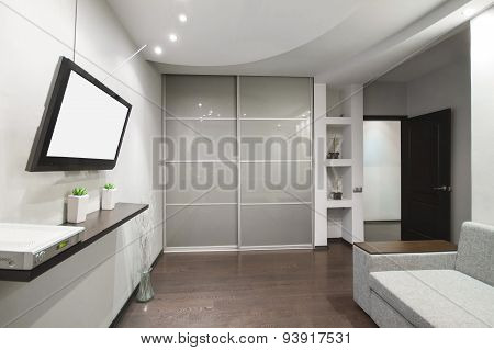 Interior modern, light gray room with TV