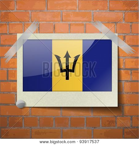 Flags Barbados Scotch Taped To A Red Brick Wall