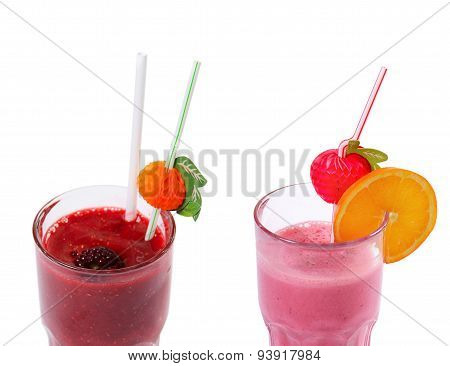 Freshening Strawberry Smoothie  Isolated On White