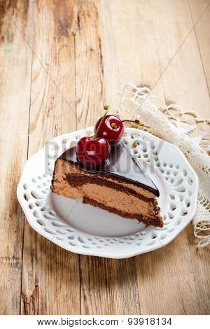 Slice of delicious chocolate mousse cake