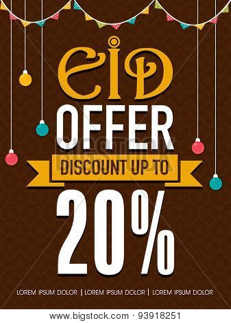 Colorful lights and buntings decorated Eid Offer template, banner or poster design with special discount offer on brown background.