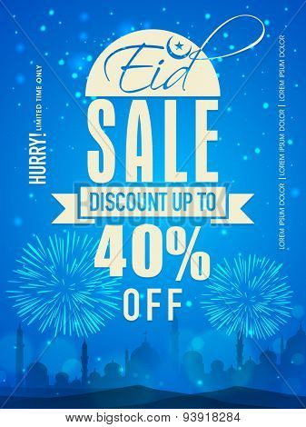 Beautiful Sale poster, banner or template design on blue fireworks and mosque silhouetted background for Muslim community festival, Eid Mubarak celebration.