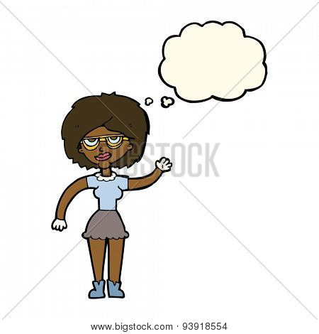 cartoon waving woman wearing spectacles with thought bubble