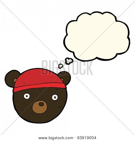cartoon black bear cub wearing hat with thought bubble