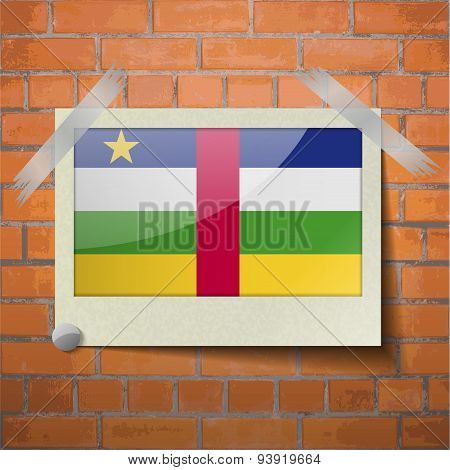 Flags Central African Republic Scotch Taped To A Red Brick Wall