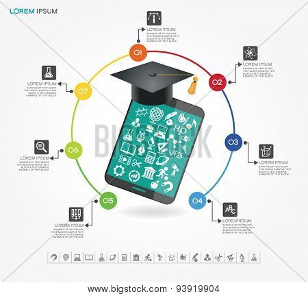 e-learning infographic Template. Concept online education. Academic cap and tablet surrounded by icons of education, text.