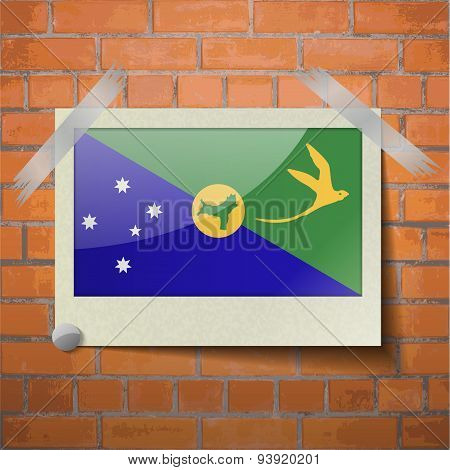 Flags Christmas Island Scotch Taped To A Red Brick Wall