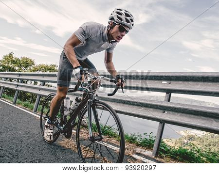 Cyclist In Maximum Effort