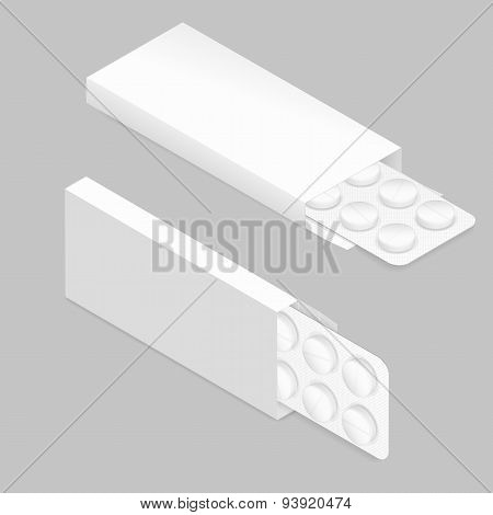 Tablets Blister Inside Package Detailed Isometric Icon Set