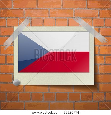 Flags Czech Republic Scotch Taped To A Red Brick Wall