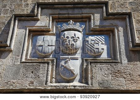 Coat Of Arms Of A Hospitaller Knight In Rhodes, Greece