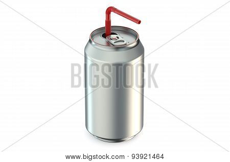 One Metallic Can With The Ring Pull And Straw