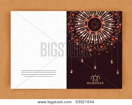 Beautiful greeting card decorated with glowing floral design and hanging stars for Islamic famous festival, Eid Mubarak celebration.