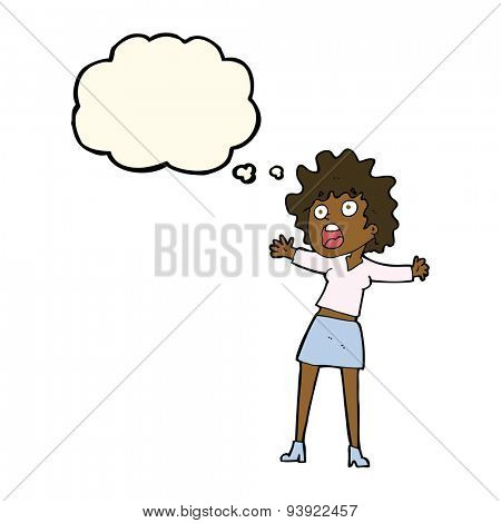 cartoon frightened woman with thought bubble