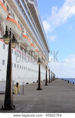 Cruise Ship Dockside with Lamposts