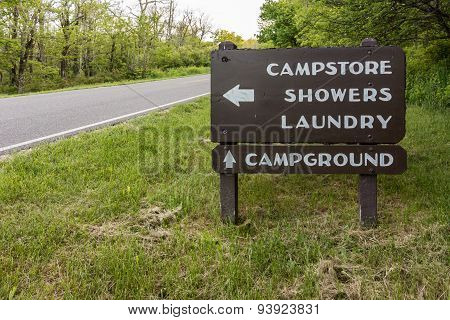 Campground Directional Sign