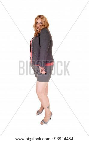 Plus Size Woman In Shorts.