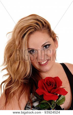 Blond Woman With Red Rose.