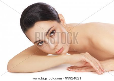 Young beautiful healthy woman over white background