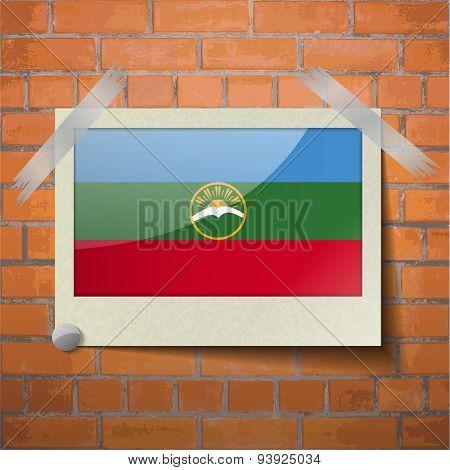Flags Karachaycherkessia Scotch Taped To A Red Brick Wall