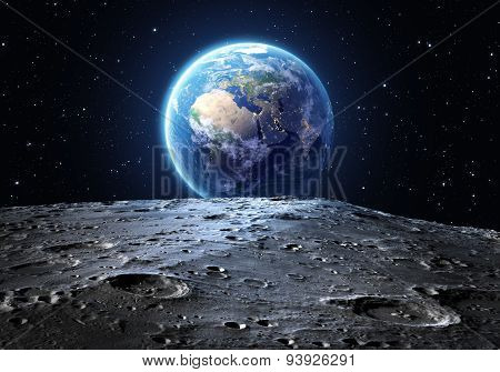 blue earth seen from the moon surface