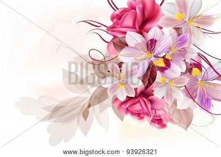 Vector Cute Flower Bouquet For Design
