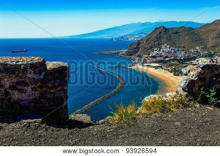 Aerial View Through Stones To Beach