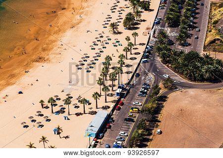Aerial View To Road Near The Beach
