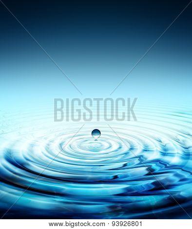 pure water drop splashing in water rippled