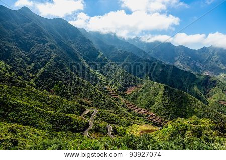 Nature Landscape With Green Mountains Valley