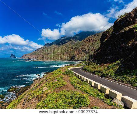Asphalt Road Near Coast Of Atlantic Ocean