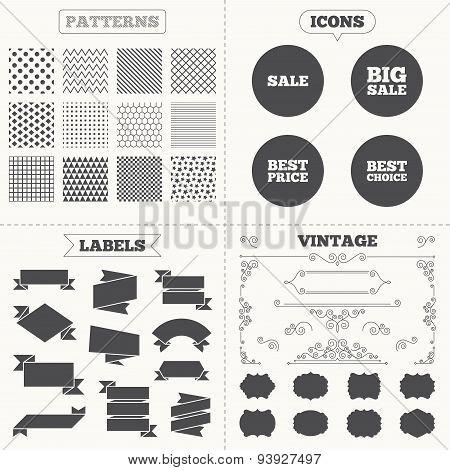 Sale icons. Best choice, price symbols
