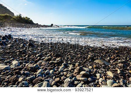 Stone Beach On Coast Of Ocean