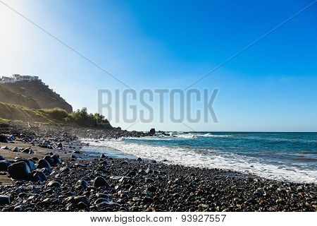 Wild Stone Beach On Shore Of Ocean