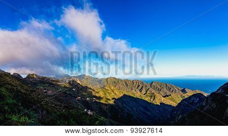 Clouds And Mountains With Blue Sky Horizon
