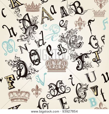Seamless Pattern With English Abc In Retro Style Decorated By Ornaments And Crowns