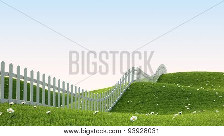 Idealistic landscape with fence