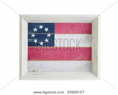 Food And Drink Server With Usa Flag Inside On White Background
