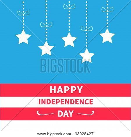 Hanging Stars With Dash Line Bow Srip Background Happy Independence Day United States Of America. 4T