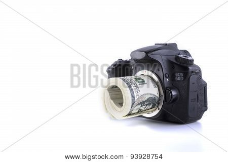 camera and money isolated