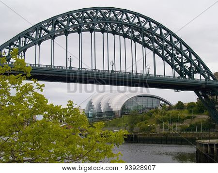View of Tyne Bridge and Sage from Quayside