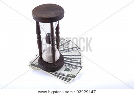 isolated old vintage clock and money