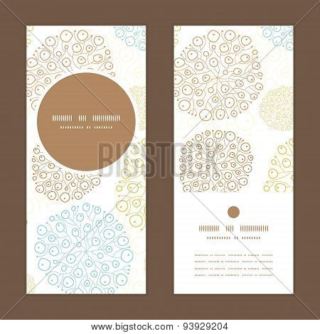 Vector blue brown abstract seaweed texture vertical round frame pattern invitation greeting cards se