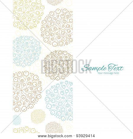 Vector blue brown abstract seaweed texture vertical frame seamless pattern background