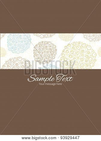 Vector blue brown abstract seaweed texture stripe frame vertical card invitation template
