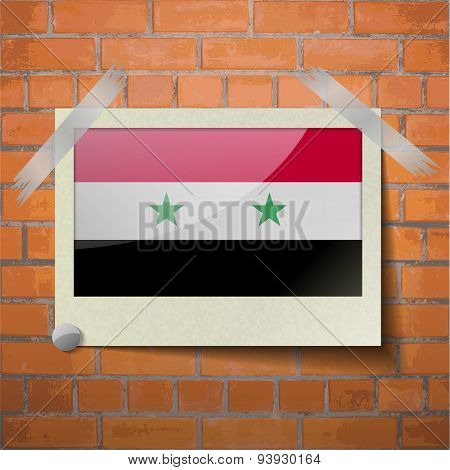 Flags Syria Scotch Taped To A Red Brick Wall