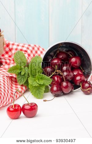 Cherries In Small Metal Bucket