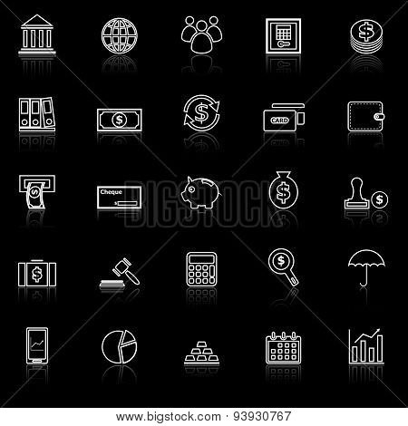 Banking Line Icons With Reflect On Black
