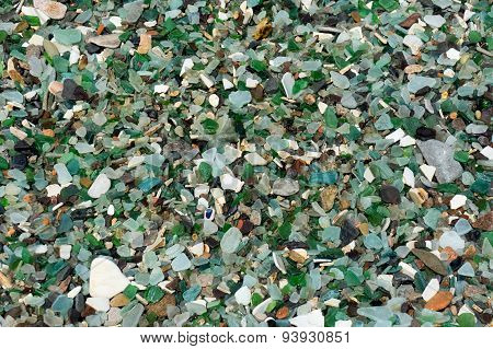 The glass processed by sea water. Glass beach.