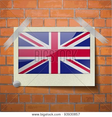 Flags United Kingdom Scotch Taped To A Red Brick Wall